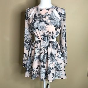 Free people floral dress with cut out waist